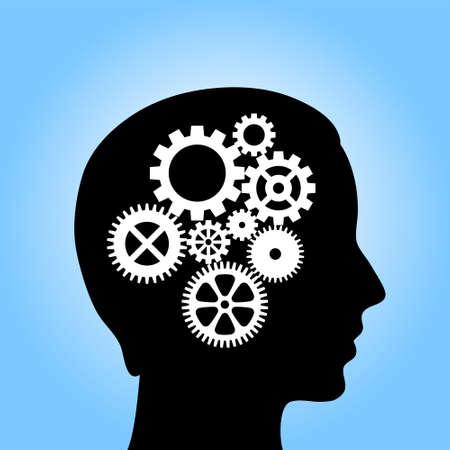 cerebro blanco y negro: Cabeza con engranajes, ilustraci�n vectorial