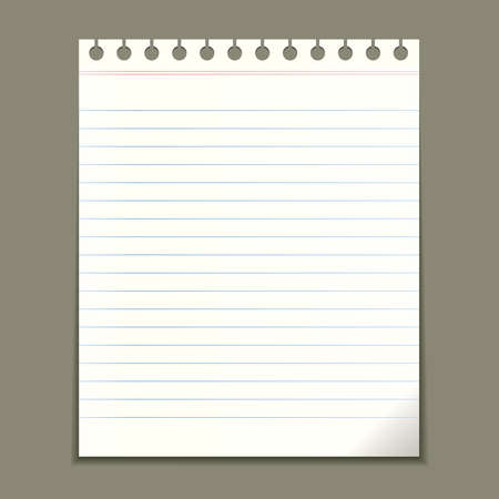 ruled: Blank notepad sheet, vector illustration
