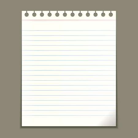 nota de papel: Hoja de bloc de notas en blanco, ilustración vectorial
