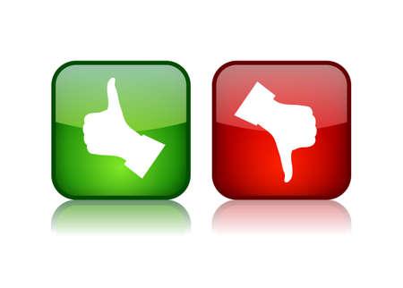 evaluacion: Pulgar arriba y abajo de los botones brillantes, ilustración vectorial