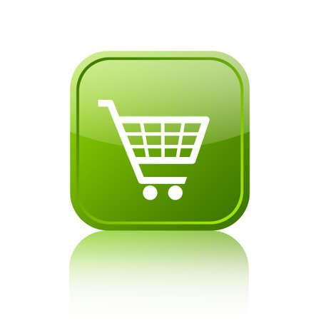 Green shopping cart button Stock Photo - 15559540