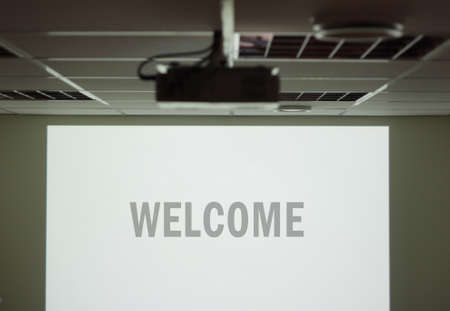 projector: Welcome screen Stock Photo
