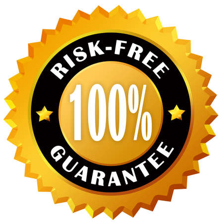 Risk free guarantee label photo