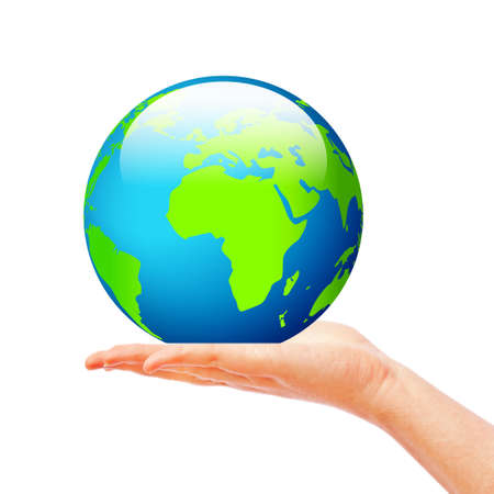 holding globe: Mano con globo