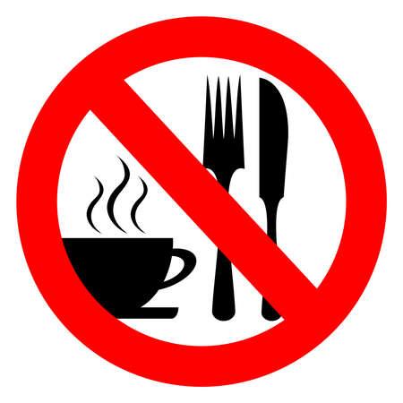 förbjuda: Nej äta och dricka tecken