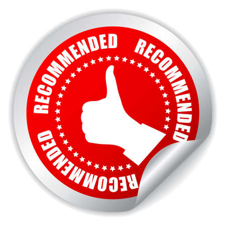 recommended: Recommended thumb up sticker illustration