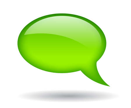 speech marks: Green speech bubble, illustration Illustration