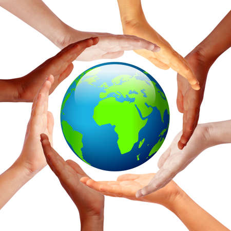 multiracial: Hands around earth, international friendship concept