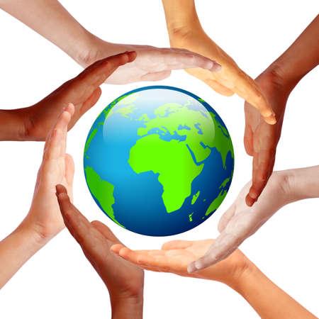 Mains autour de la terre, concept amitié internationale