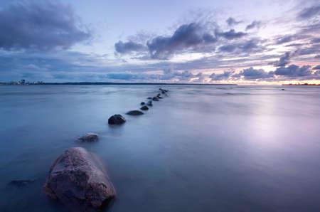 海の夕日の写真