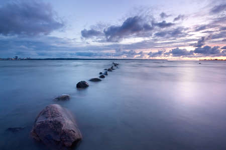 horizonte: Sea sunset foto