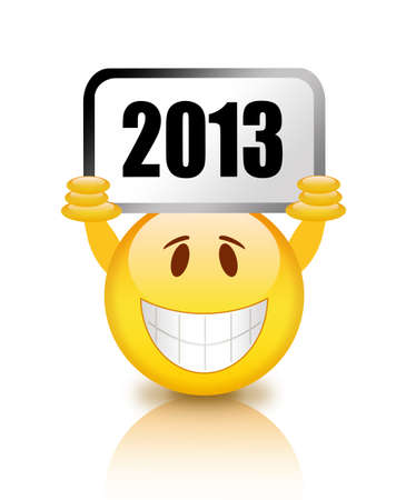 two thousand thirteen: New year smiley illustration Stock Photo