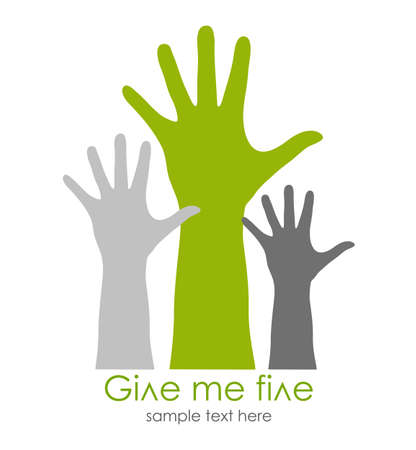 arms open: Give me five symbol