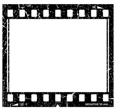 black picture frame: Vector grunge filmstrip icon Illustration