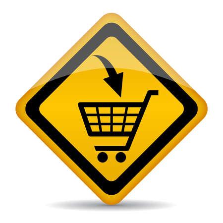 Vector carro de compras signo