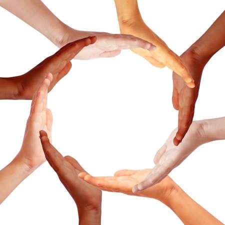multicultureel: Handen cirkel, Internationl teamwork concept