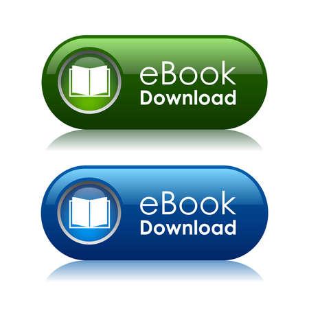 Icônes de téléchargement d'ebook, illustration vectorielle