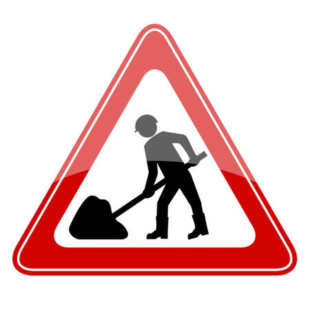 men at work sign: Vector road works sign