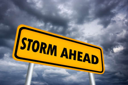 Storm ahead warning sign Stock Photo - 16449353