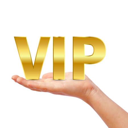 exclusivity: Hand with vip symbol