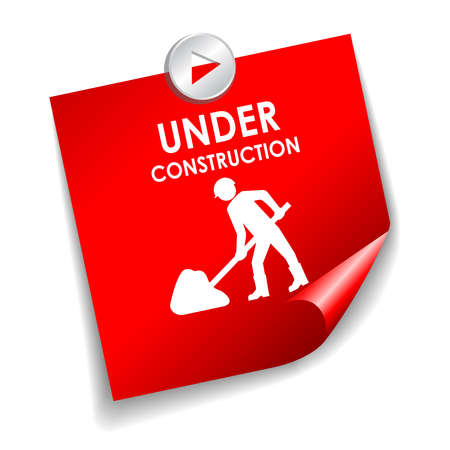 under construction sign with man: Under construction vector sticker