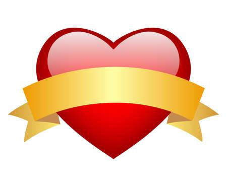 golde: red glass heart