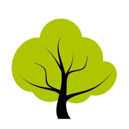 oak tree silhouette: Vector tree illustration Illustration