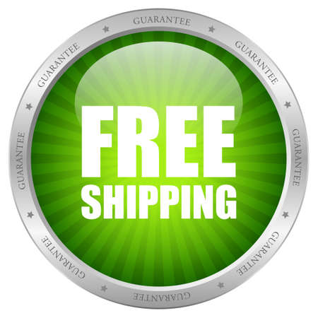 free shipping: Vector green free shipping icon