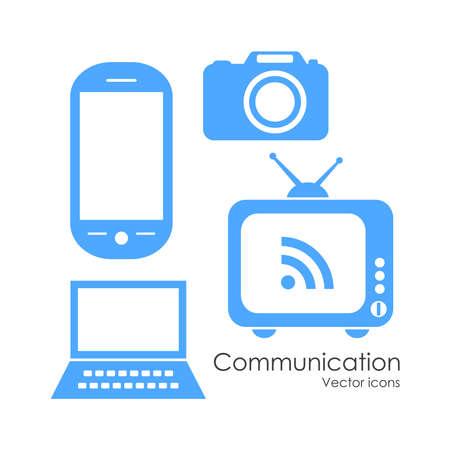 logo informatique: Icônes de communication mis en technologie Illustration