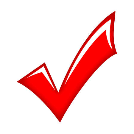 approve icon: Vector red check mark