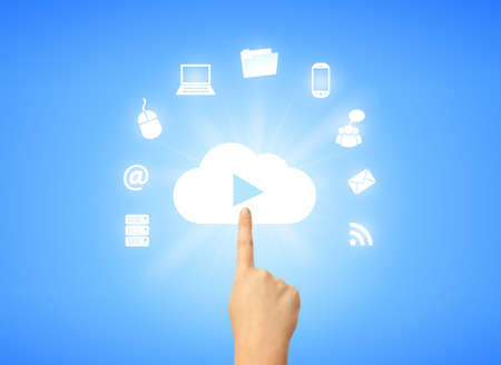 community cloud: Virtual devices, cloud computing symbol Stock Photo