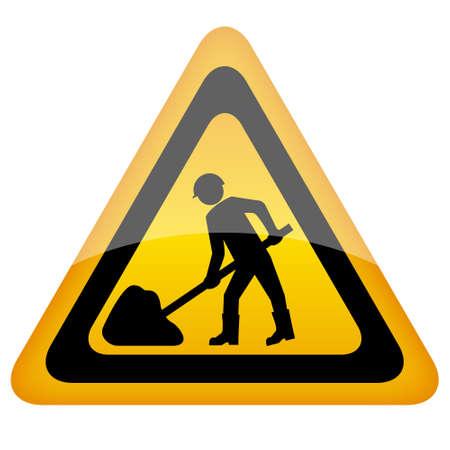 roadworks: Yellow vector working sign Illustration