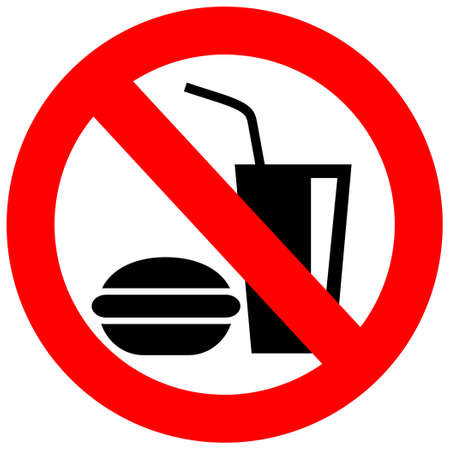 banned: No eating vector sign