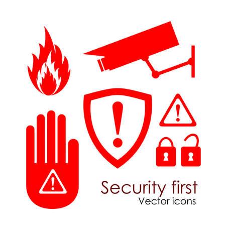 avviso importante: Icone vettoriali di sicurezza