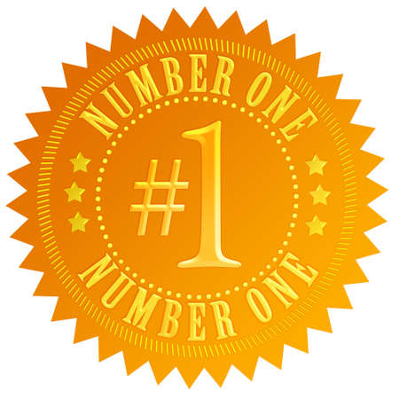 number button: Number one gold seal Stock Photo