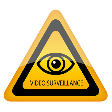Video surveillance warning sign Vector