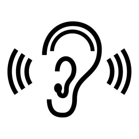 geluidsgolven: oor symbool Stock Illustratie