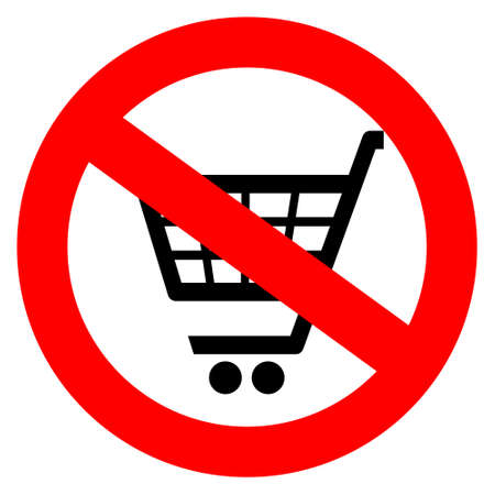 No shopping cart sign,  illustration Vector