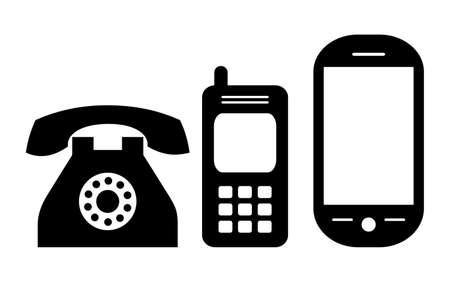 Teléfonos evolución, ilustración Ilustración de vector