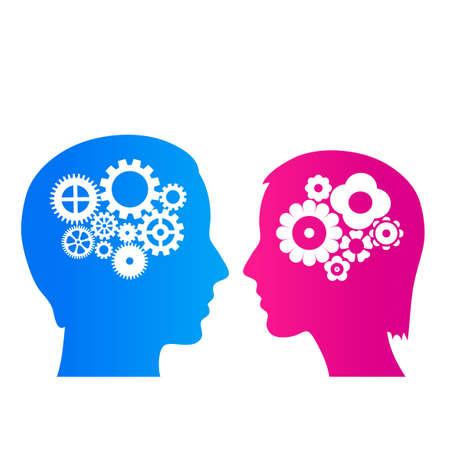 Diferencia entre el hombre y la mujer que piensa Ilustración de vector