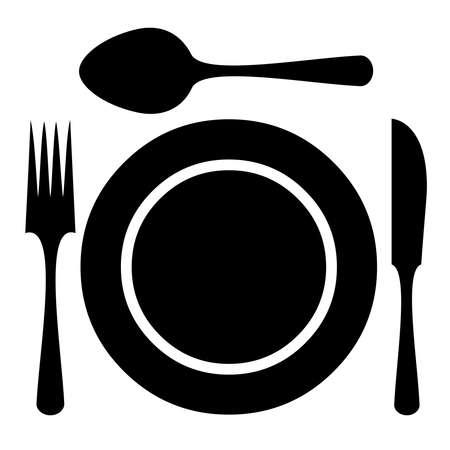 cuchara y tenedor: Citas vector mesa