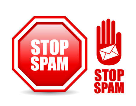 spammer: Stop spam sign, vector illustration