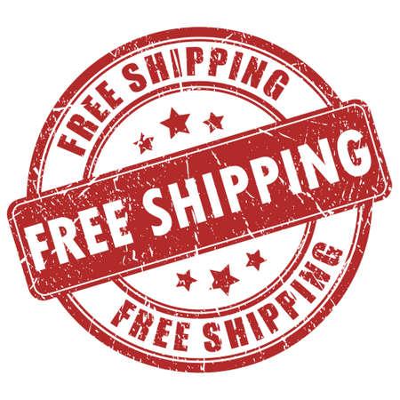자유로운 선박 빨간 스탬프