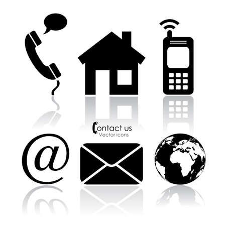 email us: Contatto con le icone vettoriali