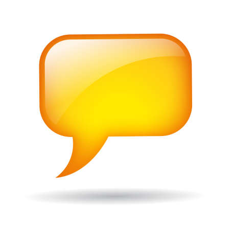 thought bubble: yellow speech balloon Stock Photo