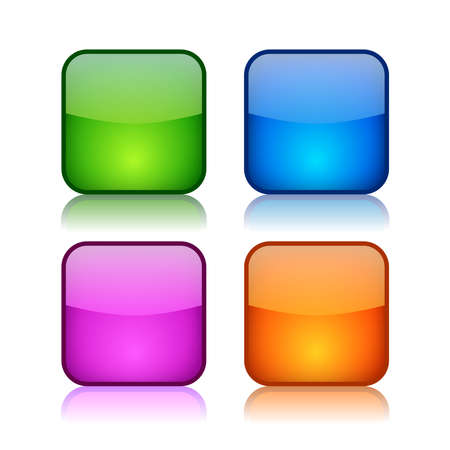 Glass square navigation buttons, vector clip art Vector
