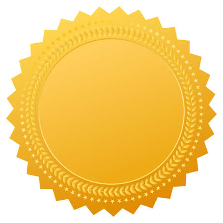 Blank gold seal, vector clip art Illustration