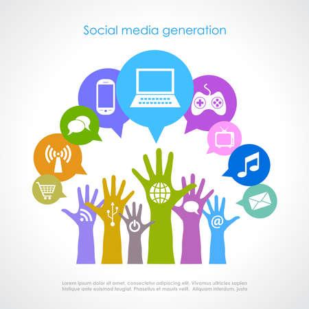 world connect: Social media generation, vector poster Illustration