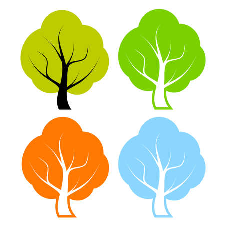 leaved: Vector trees set Illustration