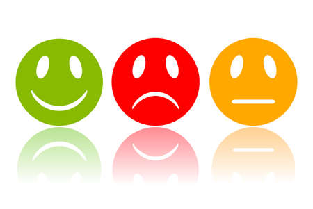 negativity: Reaction smiley, vector illustration
